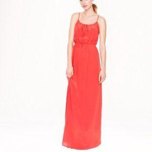 Red silk J. Crew maxi dress